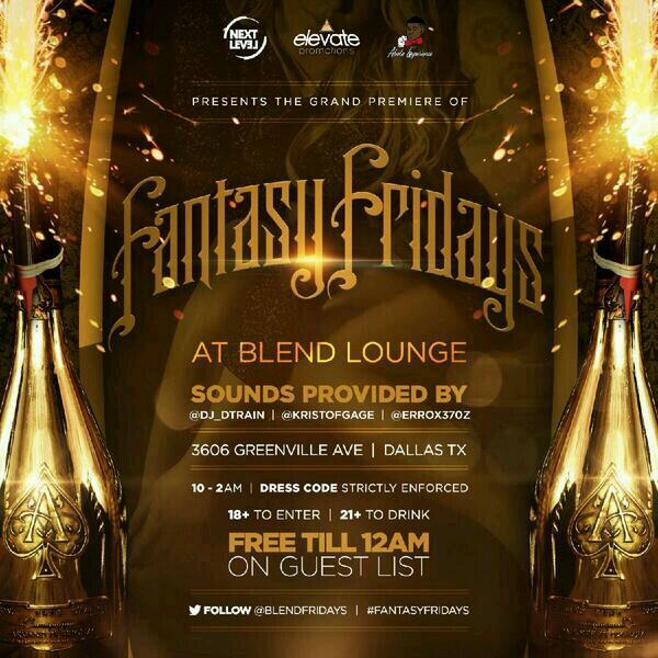 #FantasyFridays Debut night at Blend Lounge FREE TILL MIDNIGHT