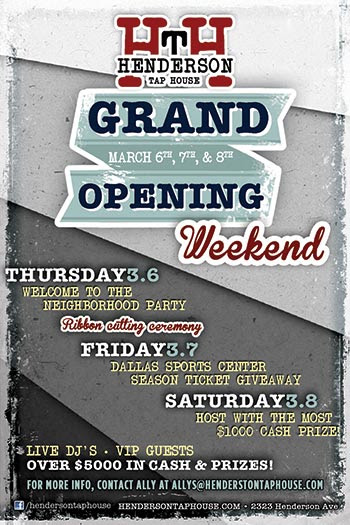Do NOT miss the Grand Opening weekend of Henderson Tap House!!